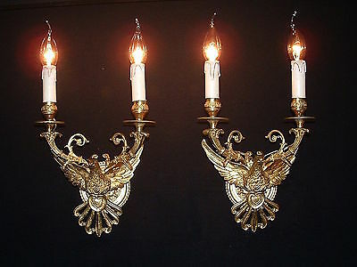 Vintage French bronze Spread wings Eagle sconces Great quality • CAD $1,856.07