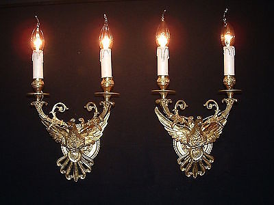 Vintage French bronze Spread wings Eagle sconces Great quality