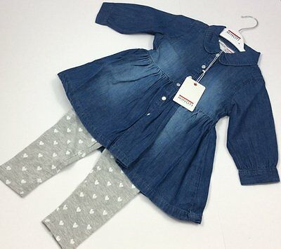 Girls Minoti Denim Shirt & Legging Set