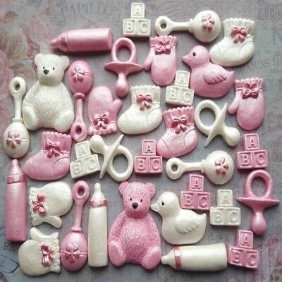 30 edible sugar christening stuff cake cupcake toppers decorations AIRBRUSHED