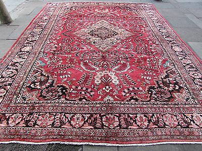Old Hand Made Traditional Persian Oriental Wool Red Blue Large Carpet 405x305cm