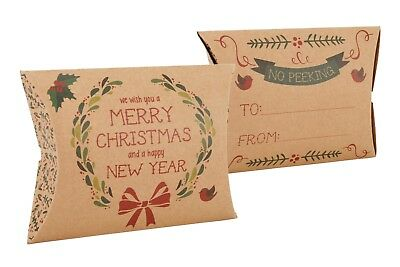 Vintage Merry Christmas Pillow Gift Box Jewellery Present Craft Xmas Favour