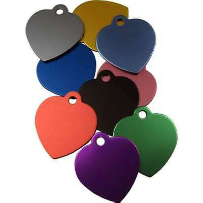 Pet ID Tags Engraved Dog/Cat Disc, Anodised 25mm Heart Shape with Tab