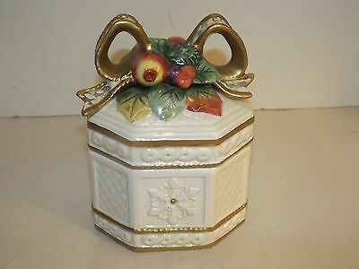 1996 Fitz And Floyd Snowy Woods Lidded Box