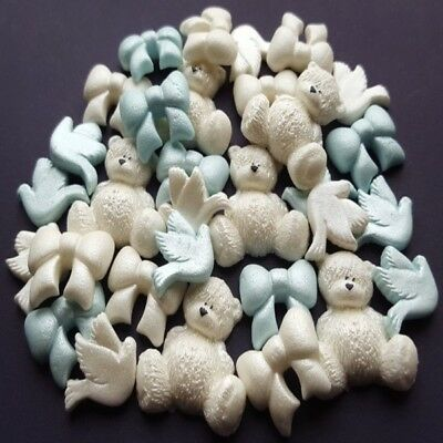 30 edible sugar teddy bears bows doves cake cupcake toppers decoration AIRRUSHED