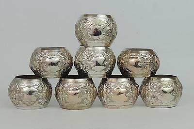 8 x INDIAN Silver ANTIQUE Napkin Rings - Elephants and Peacocks c1900