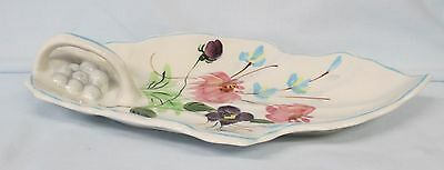 Blue Ridge Pottery Chintz Leaf Handled Relish Dish