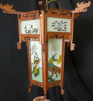 Antique Hanging Lanterns Light Fixtures Chinese Reverse Painting Fretwork