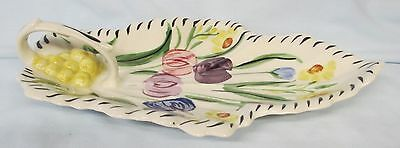 Blue Ridge Pottery Tulips Leaf Handled Relish Dish