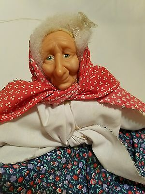 Hand Made Doll Old Lady Riding Broom Decor Shelf Sitter or Hang it Up!