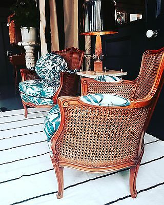 Midcentury Cane Bergere Chairs Reupholstered In Palmoral House of Hackney Linen