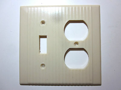 Vintage Leviton Ribbed Ivory Bakelite 2 Gang Switch Outlet Wall Plate Cover Deco