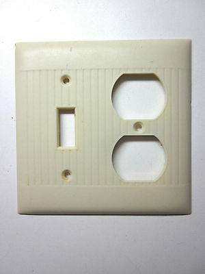 Vintage Sierra Bakelite ivory ribbed 2 gang switch outlet plate cover combo Deco