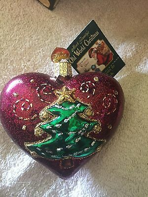 Nwt, Nib (1) Quilted Christmas Heart Old World Christmas W/ Tree Glass Ornament