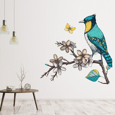 Blue Bird Wall Sticker Floral Branch Wall Decal Vintage Style Home Decor