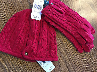 LAUREN by RALPH LAUREN RED KNIT HAT ($29.99) AND GLOVES ($29.99) - NO SIZE