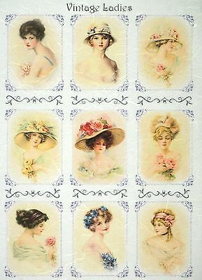 Rice Paper for Decoupage, Scrapbook Sheet, Craft Paper  Vintage Ladies