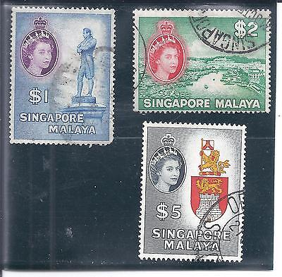 SINGAPORE...# 40-42  ( $1, $2 & $5 Values )...1955...Used...SCV $ 12