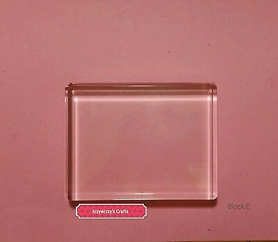 Stampin Up Clear Acrylic Block E for cling rubber stamps EUC (1615)