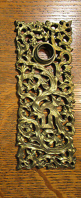 Antique Yale & Towne KELP Gothic Victorian Brass Bronze Door Knob Back Plate Y&T