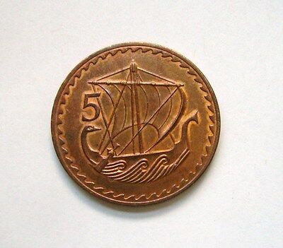 Cyprus 5 Mils 1963, Ancient merchant ship
