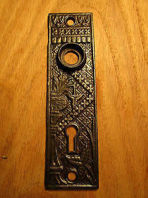 "Antique Lockwood ""Broken Leaf"" Door Knob Back Plate Victorian Eastlake Lock Key"