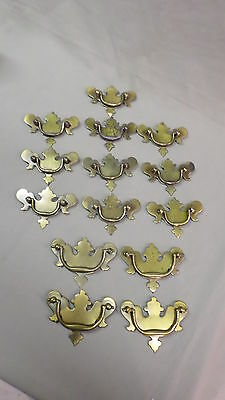 "202D Vtg 14 Bat Wing Drawer Handles/Pulls 4=3 3/4"" Wide & 10=3 1/2"" Wide Brass"