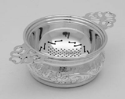 Silver Plate Tea Strainer with Decorative Scroll Handle & Drip Dish
