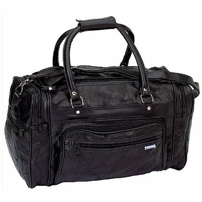 LARGE Black Leather Gym Bag Travel Carry On Tote Duffle Satchel Mens Womens NEW