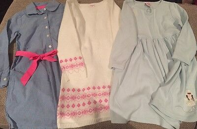 Lot Of 3 Gymboree Long Sleeve Dresses  Size 4 Sweater, Button Up And Vintage