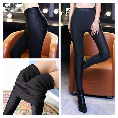 Women Shiny Winter Thick Warm Thermal Full Length Leggings Trousers Size 8 10 12