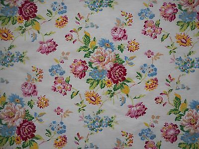 Lovely unused vintage 50's floral cotton barkcloth fabric - 1 yard long