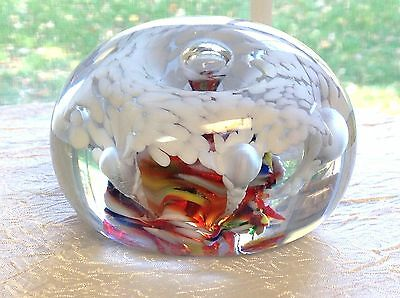 Vintage 1970s ROY-AL Multi-Colored PAPERWEIGHT Controlled Bubbles