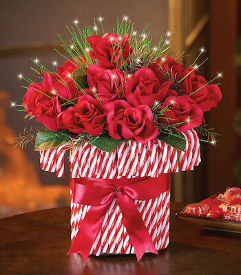 Lighted Fiber Optic Christmas Candy Cane Roses Bouquet Table Centerpiece