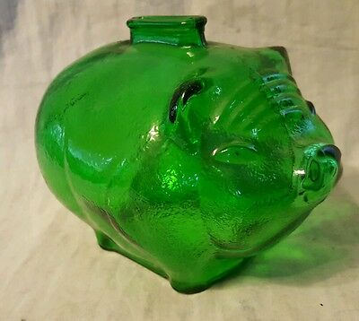 Anchor Hocking Depression Style Green Glass Piggy Bank ~ ADORABLE SOW