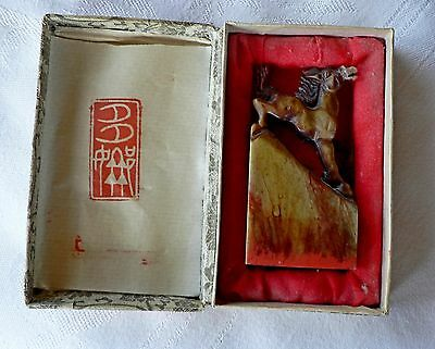 Vintage Chinese Stamp Horse Carved Stone Original Box