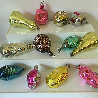 Vintage Christmas Ornaments Glass Santa Owl Feather Weight