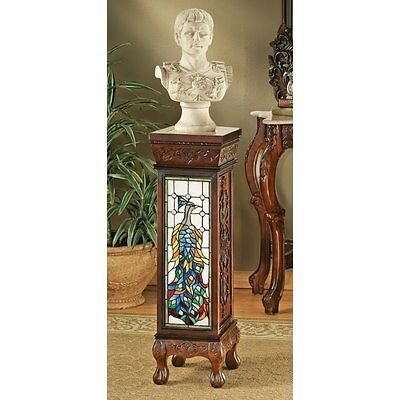 """AE65731 Peacock Stained Glass Illuminated Hand Carved Pedestal 35"""""""