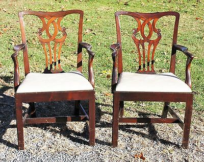 Pair of Antique High Quality MAHOGANY CHIPPENDALE ARM CHAIRS