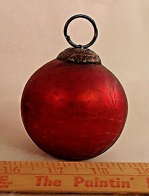 Kugel Style Red Crackle Glass 2.5 inch Ornament Heavy. 4 oz.