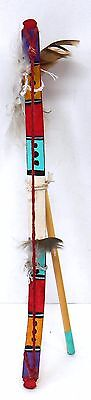 Hopi 10 & 11 inch 2 small Bow & Arrows cottonwood root & painted by Ron Sinquah