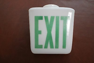 Milk Glass Globe Exit Light Sign Triangular Sconce Cover USED