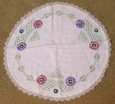 Vintage Table Cover Round Embroidered Flowers Purple Blue Red