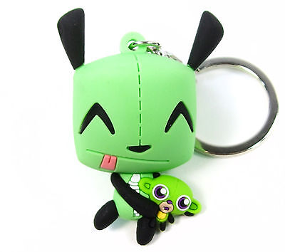 INVADER ZIM 3D Collectors Keyring Series GIR WITH MONKEY PLUSH FIGURAL KEYCHAIN