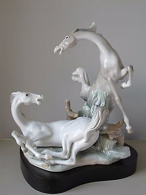 """Lladro Playful Horses # 4597 Porcelain Figurine 16"""" with Custom Display Stand"""