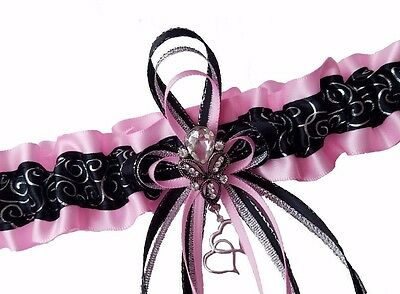 PLUS SIZE PINK & SILVER SWIRLS BLACK GARTER Rhinestone Wedding PROM Bridal Dance