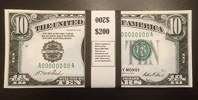 $200 In 1928 $10 Play Money Bills United States Prop Money USA 20 Pieces
