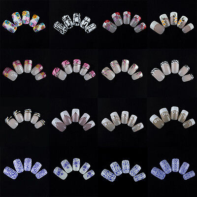 24pcs French False Nails  Acrylic Nail Art Full Artificial Nail Tip Finger Salon