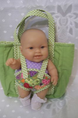 """Green tones Carry All Doll Bag/Bed/Change Pad for 10""""-12"""" (25-31 cm) size"""