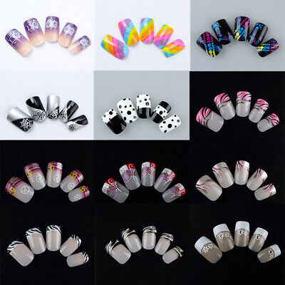 24pcs Full Cover False Nails French Fake Fingernails Acrylic Nail Art Salon DIY